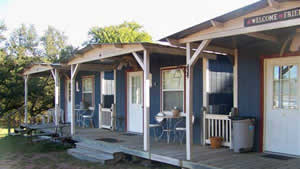 Ranch cabins for guest lodging.